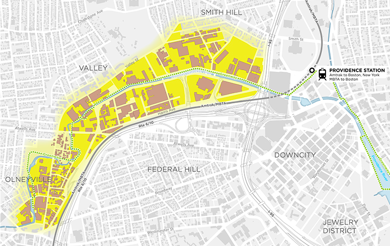 About 560 acres of the Valley neighborhood get a makeover in the city's Woonasquatucket Vision Plan. (City of Providence)