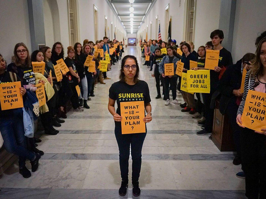 A growing movement of young activists is pushing action on climate change and gun safety. (Sunrise Movement)