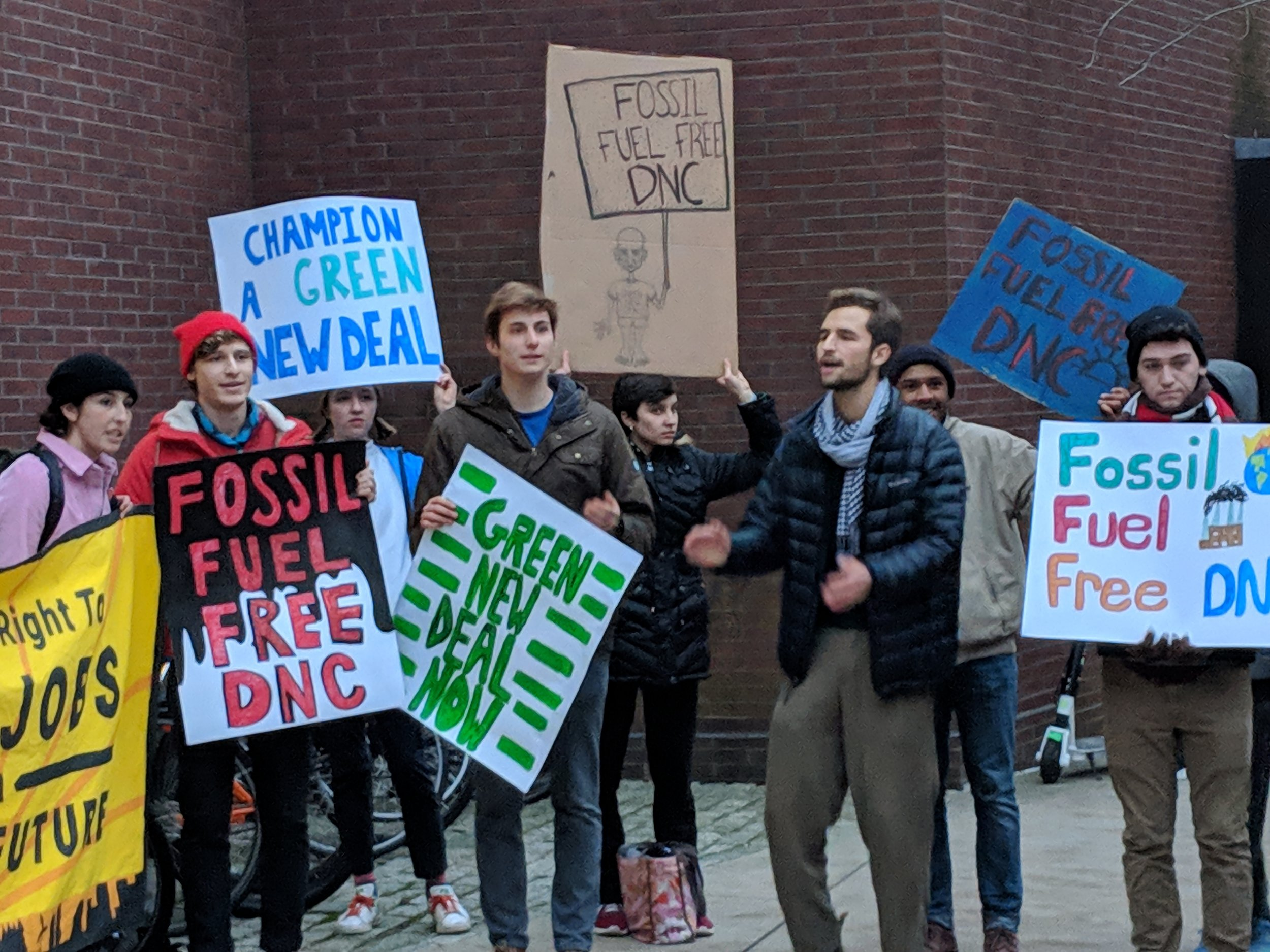 College students protest outside Brown University during a Nov. 19 visit to campus by Democratic National Committee chairman Tom Perez. (Tim Faulkner/ecoRI News)