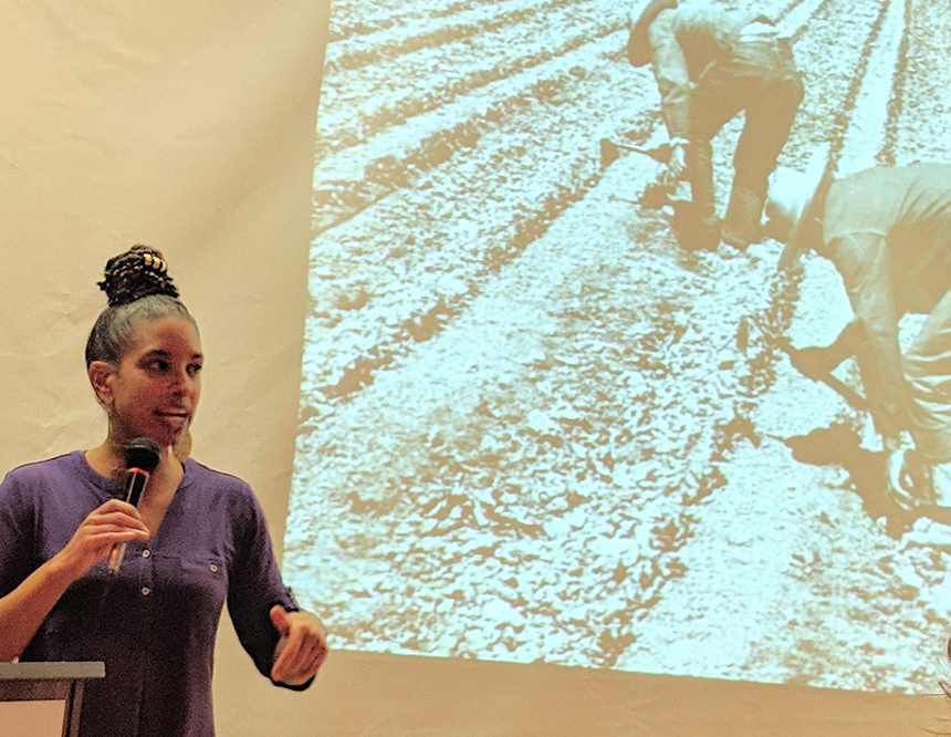 Leah Penniman of Soul Fire Farm recently gave a talk titled 'Ending Racism and Injustice in the Food System.' (Tim Faulkner/ecoRI News staff)