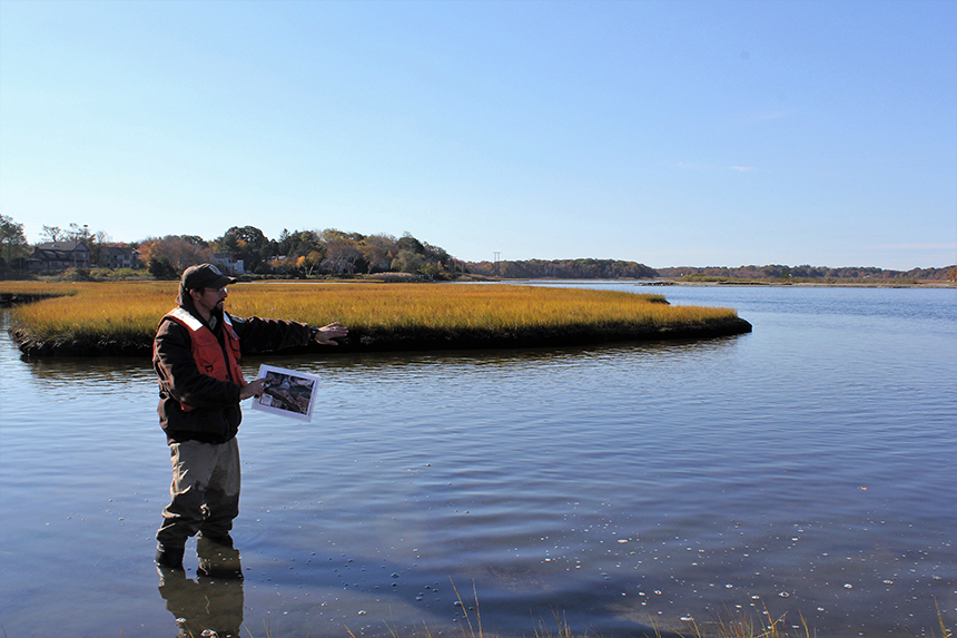 Ben Gaspar of the U.S. Fish & Wildlife Service is among the many working on a project to strengthen salt-marsh habitat at the John H. Chafee National Wildlife Refuge. (TNC)