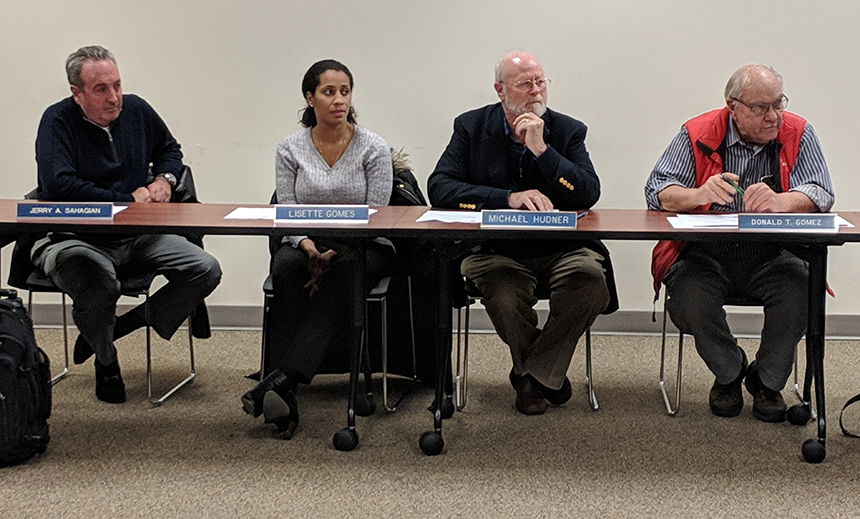 The Coastal Resources Management Council board has 10 appointed members, including, from left, Jerry Sahagian, Lisette Gomes, Michael Hudner, and Donald Gomez. (Tim Faulkner/ecoRI News)