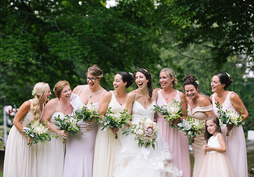 The bridesmaid dresses were all secondhand. (Amanda Morgan photos)