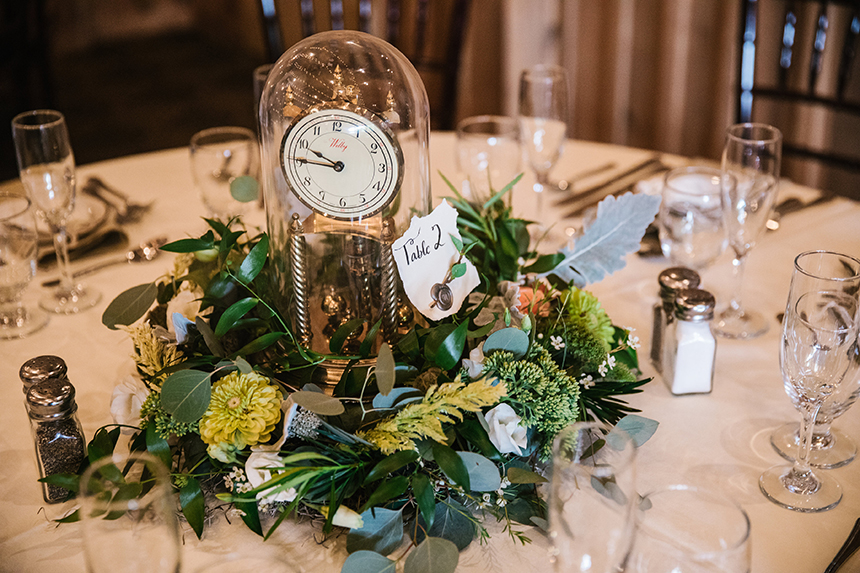 Much of the wedding's decor, favors, table settings, and rings were found, borrowed, or bought secondhand.