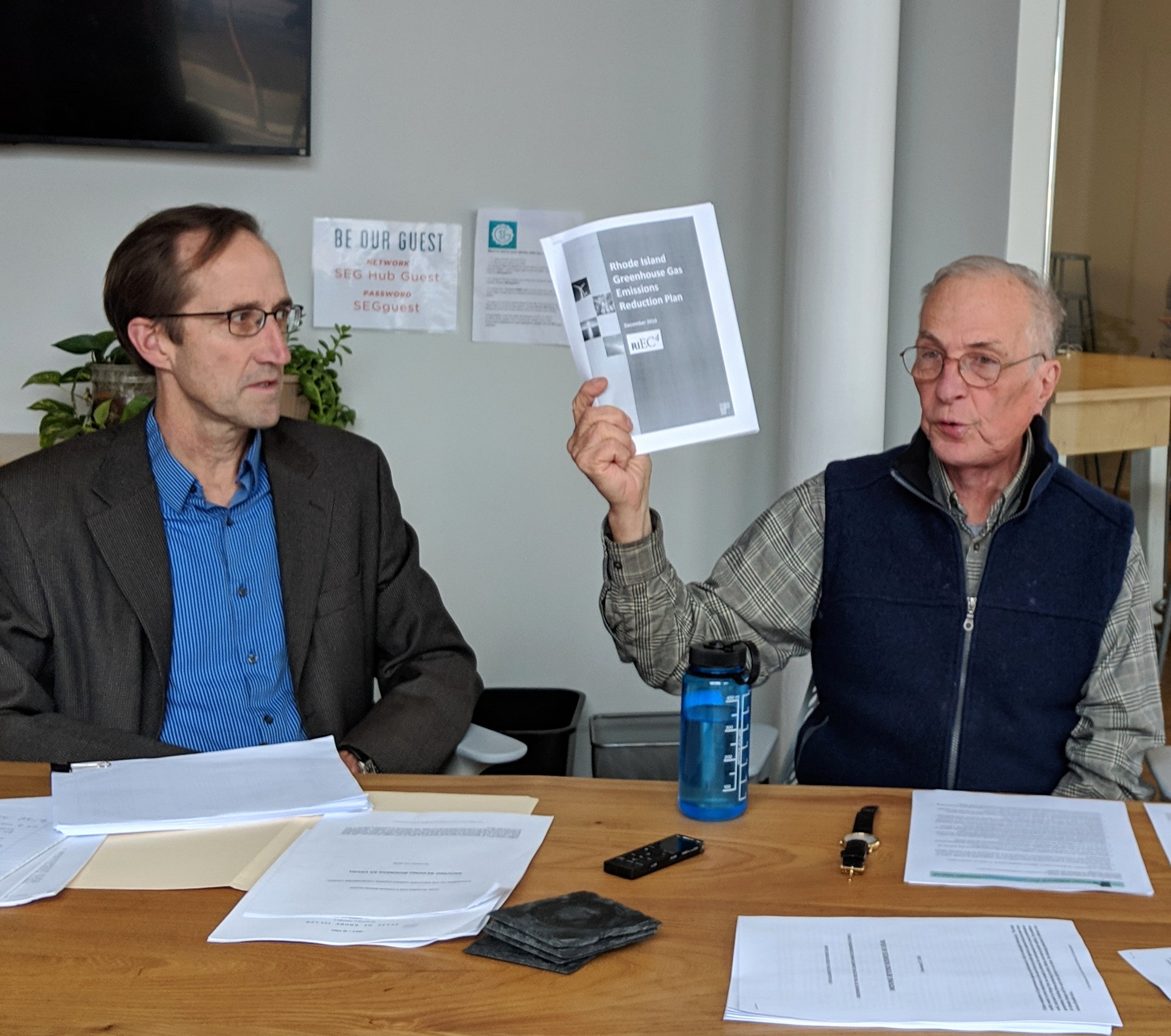 J. Timmons Roberts, left, and Ken Payne at a press event for the release of an assessment of the Rhode Island climate council. (Tim Faulkner/ecoRI News)