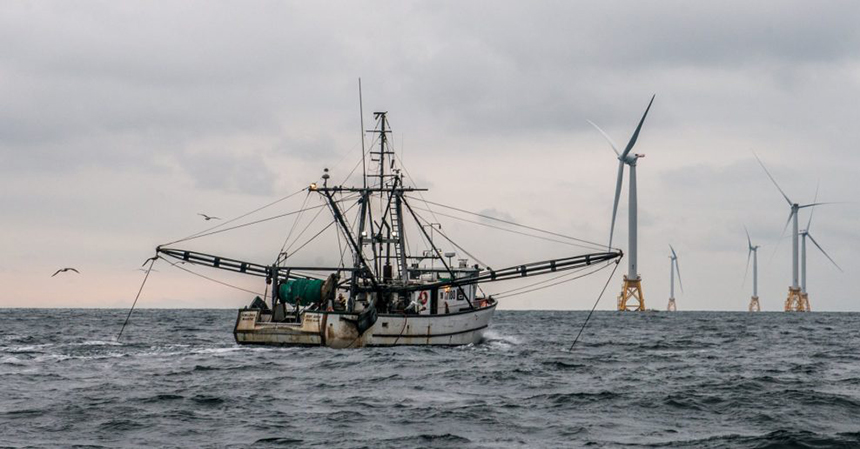 A fishing boat from Point Judith, R.I., near the Block Island Wind Farm. Commercial fishermen view the facility mostly as a negative. (Deepwater Wind)
