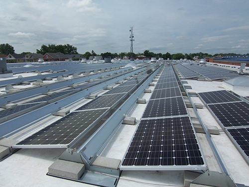 The roof of the Rhode Island Public Transit Authority is covered with solar panels. (RIPTA)