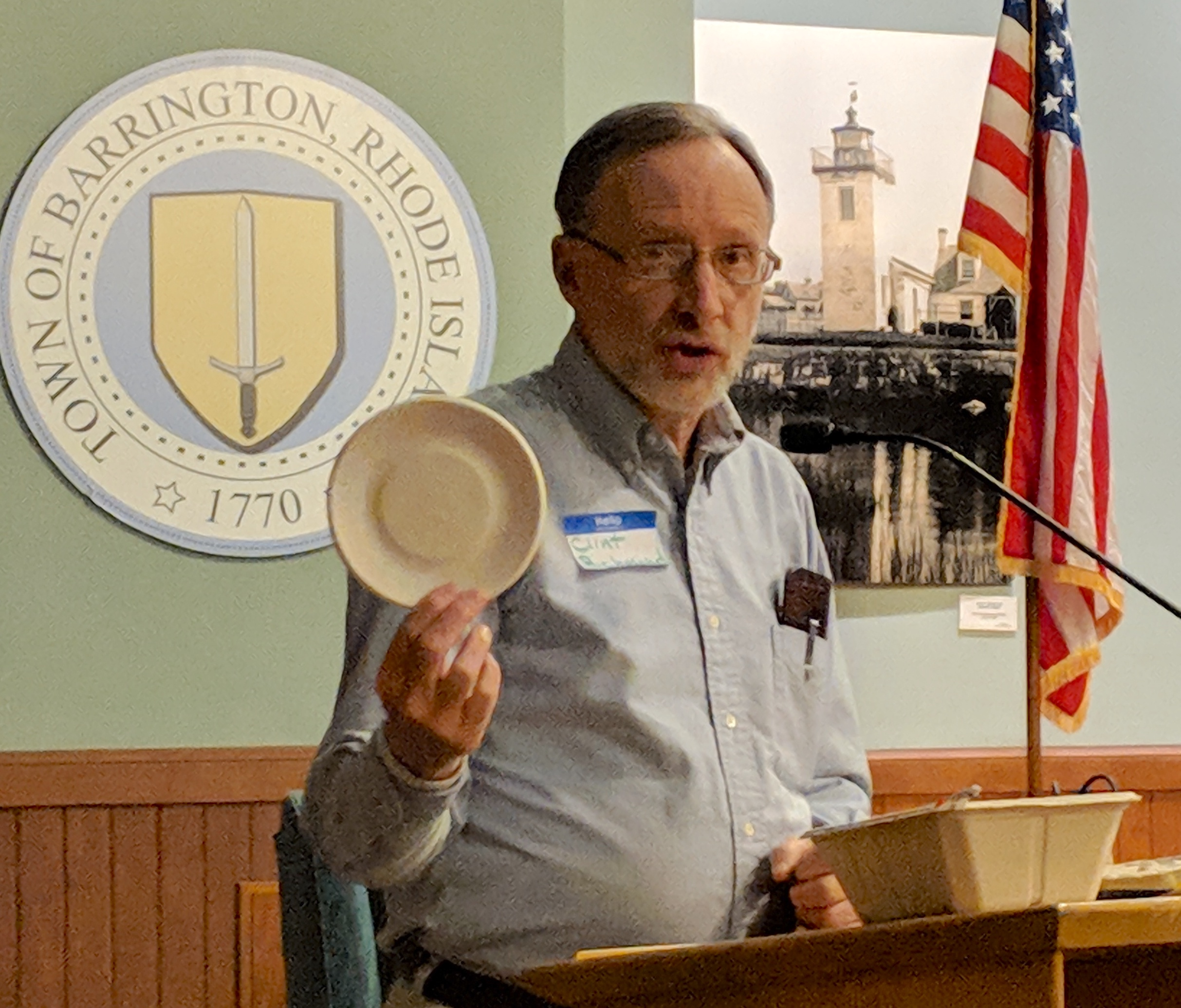 Clint Richmond of Brookline, Mass., shows inexpensive alternatives to plastic food containers. 'We are victims of our solid-waste stream,' he said.