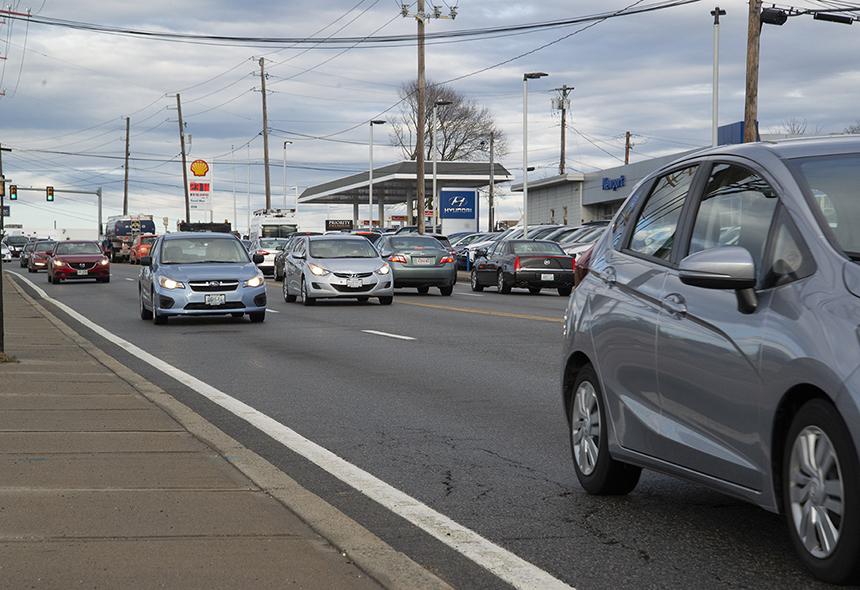 Sprawling suburbs and strip-mall highways, such as West Main Road in Middletown, made automotive transit popular. (Joanna Detz/ecoRI News)