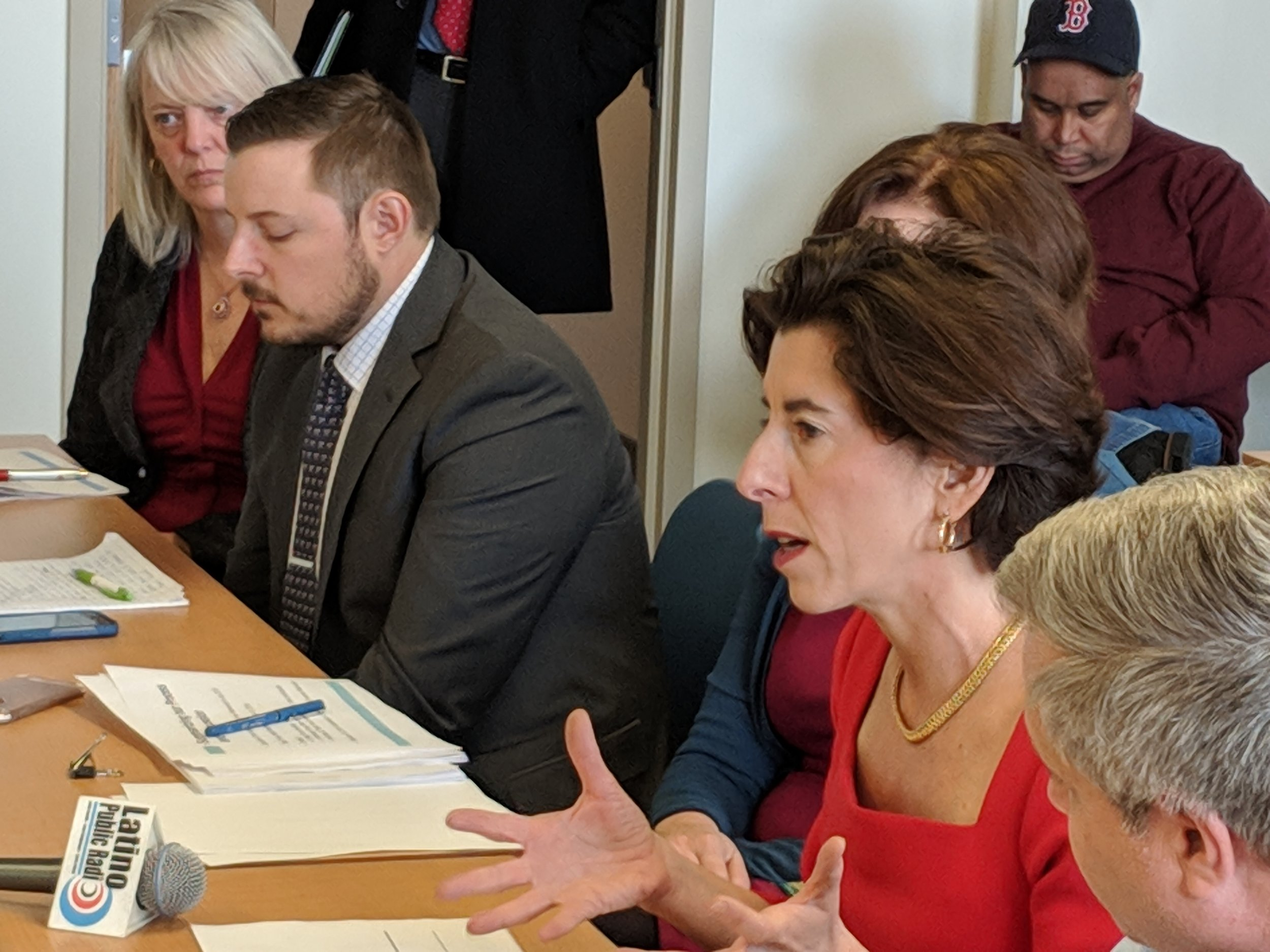 Gov. Gina Raimondo, second from right, will issue another executive order to address plastics waste. (Tim Faulkner/ecoRI News photos)