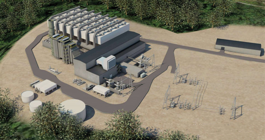 An artist's rendering of what the proposed 650-megawatt Killingly Energy Center would look like. (NTE Energy)