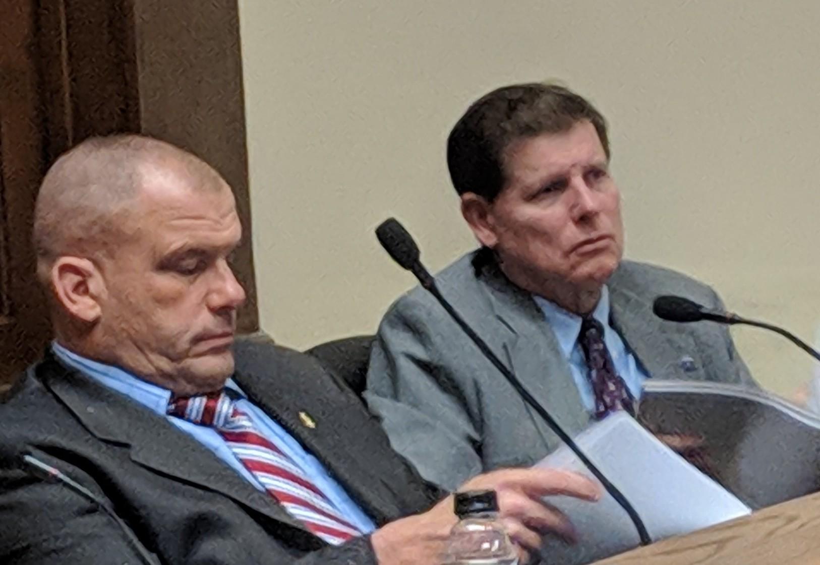 Rep. Bernard Hawkins, D-Smithfield, left, and Rep. Brian Patrick Kennedy, D-Hopkinton, claim the program would shrink the tax base.