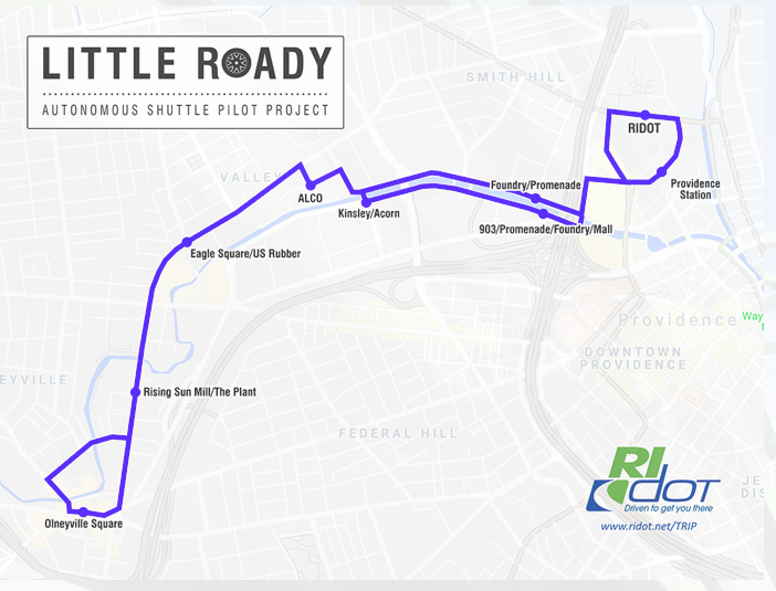 Three to six Little Roady shuttles will run on a 5.3-mille loop between the Providence train station and Olneyville Square. (RIDOT)