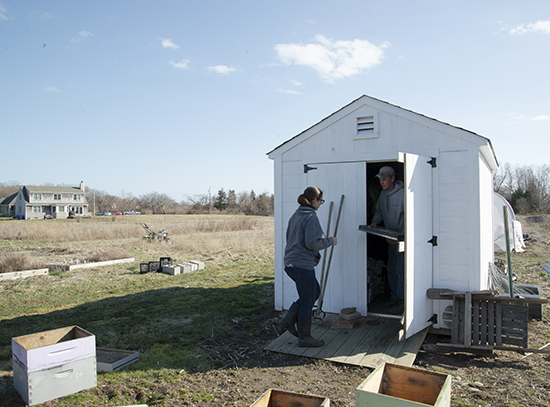 The Garmans have a shed on their leased land to store some of their equipment. (Joanna Detz/ecoRI News)