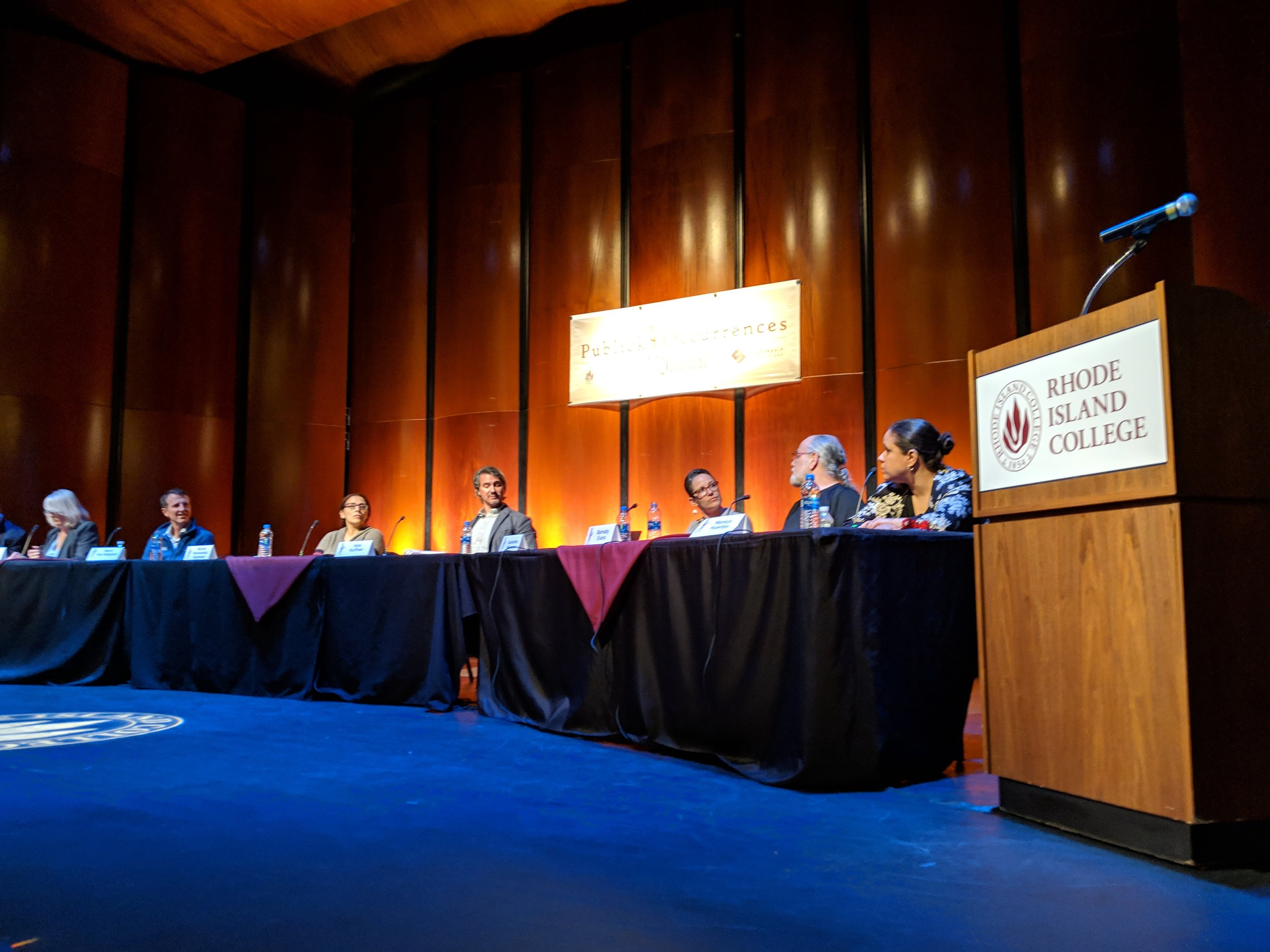 The Publick Occurrences panel at Rhode Island College. (Tim Faulkner/ecoRI News)