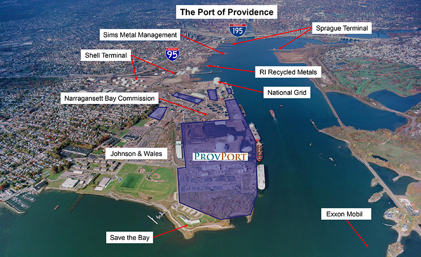 The Port of Providence takes up a huge chunk of the city's waterfront. (ProvPort)