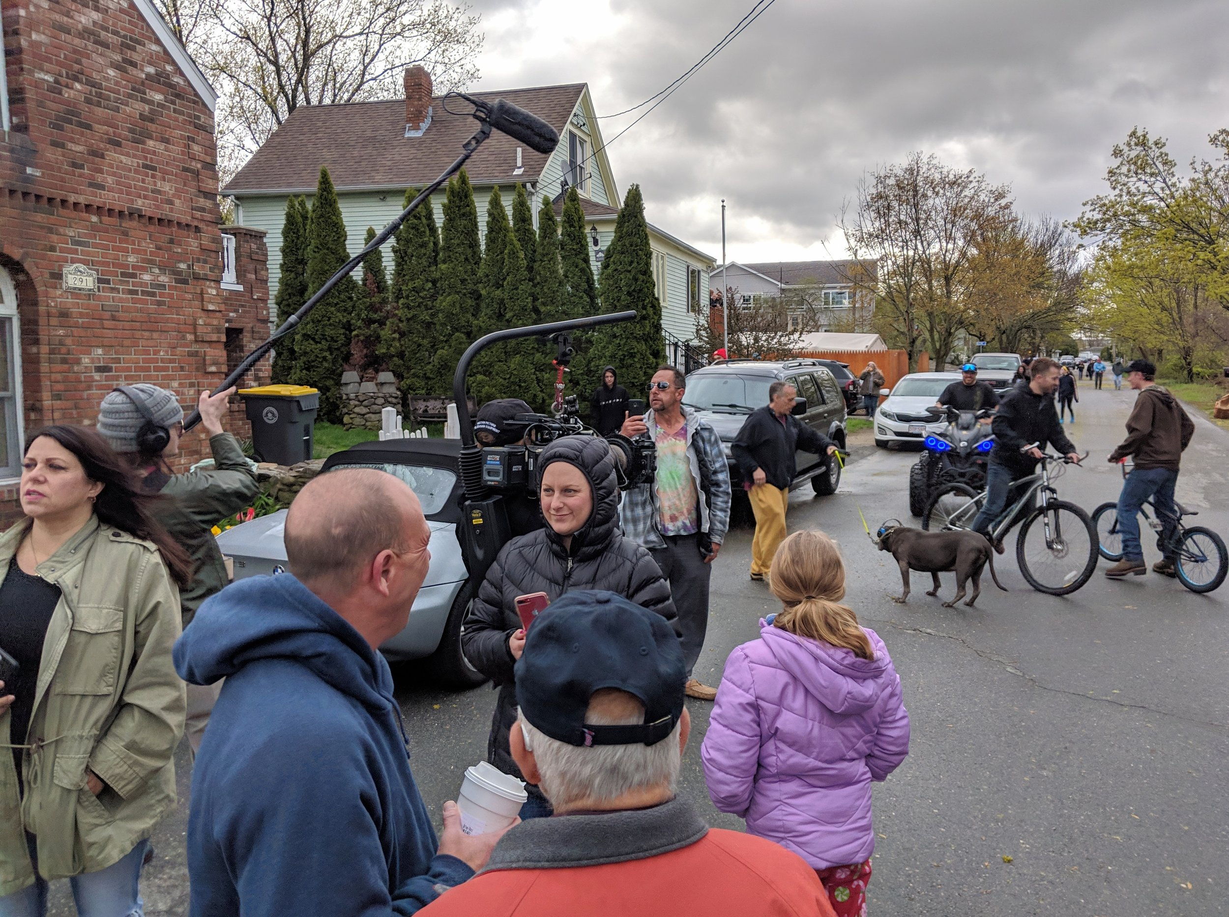 Residents of Perkins and Carey streets in the Brayton Point neighborhood gathered to watch the twin cooling towers implode.
