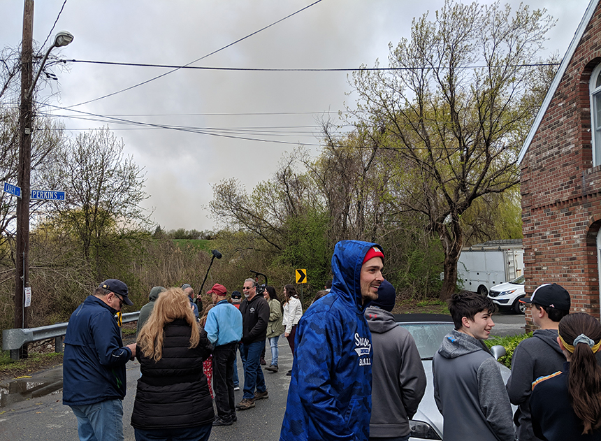 Neighbors were all smiles after the two cooling towers came tumbling down.