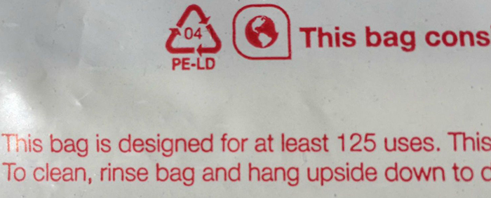 CVS calls its thicker plastic bags reusable, noting they can be reused 125 times or more.
