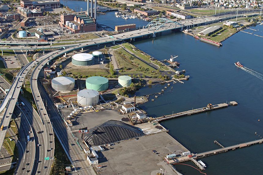 Complaints about odor from Sprague's Providence terminal began after three existing above-ground heating-oil tanks switched to storing liquid asphalt and another liquid asphalt product called roofing flux. (Sprague Operating Resources LLC)