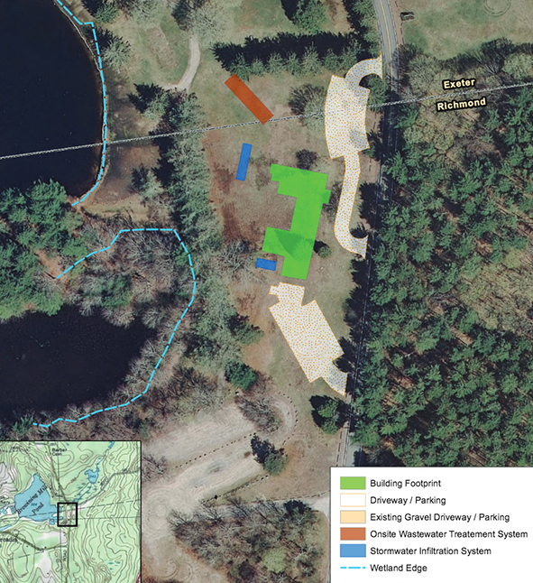 Project opponents say the proposed 13,000-square-foot building, highlighted in green above, planned for next to Browning Mill Pond in the Arcadia Management Area would displace a site popular for picnicking and sledding. (DEM)