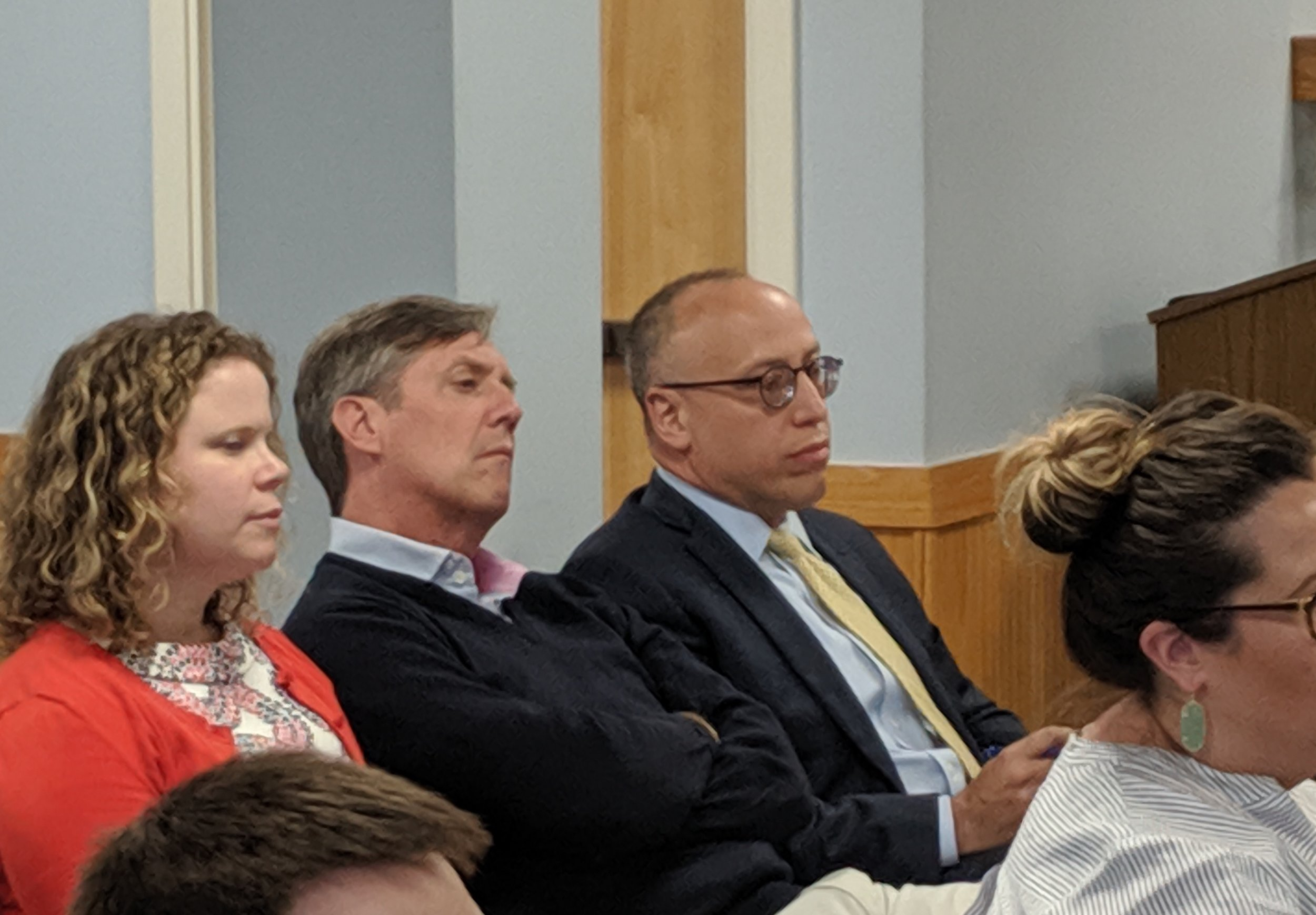 Jeff Grybowski, right, co-CEO of Ørsted, formerly Deepwater Wind, at the May 28 PUC hearing.