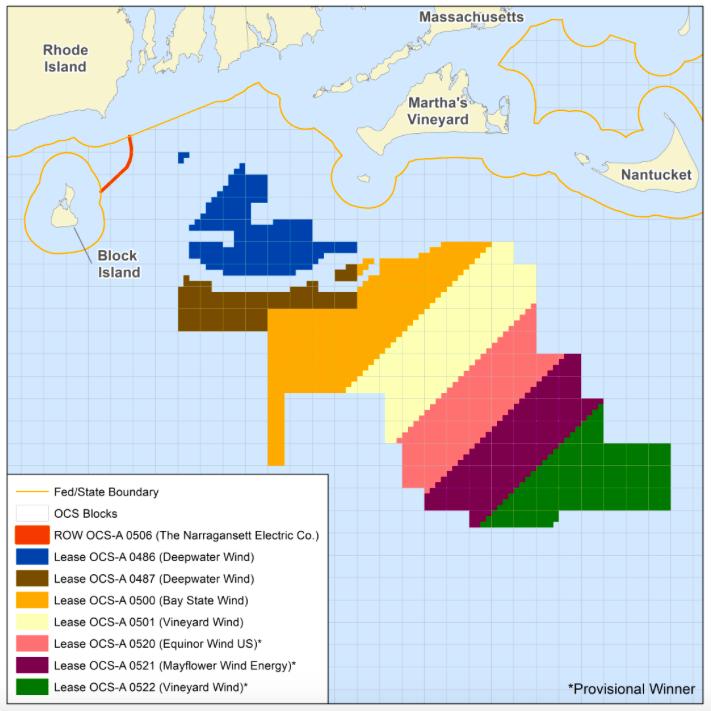 Wind-lease areas by developer. (Bureau of Ocean Energy Management)