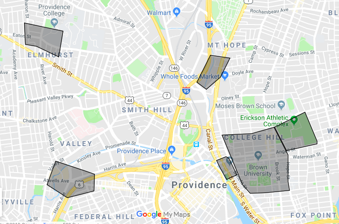Locations of the new 5G networks in Providence. (PCMag.com)