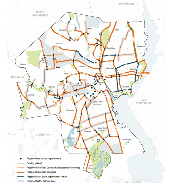A draft of the proposed citywide urban trail network includes 32.6 miles of new separated on-road bike lanes, 1.1 miles of new striped bike lanes, and 15.9 miles of new neighborhood greenways. (City of Providence)