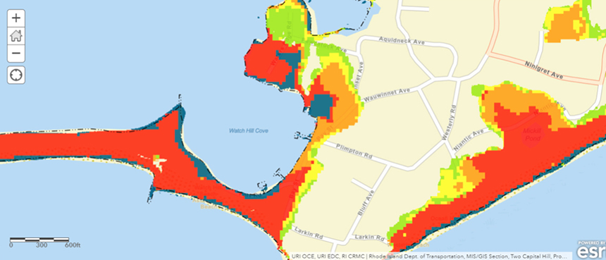 Risks of property damage in Westerly, R.I., including Watch Hill. Blue means inundated by 2100; green is moderate risk; yellow is high risk; orange is severe risk; and red is extreme risk.