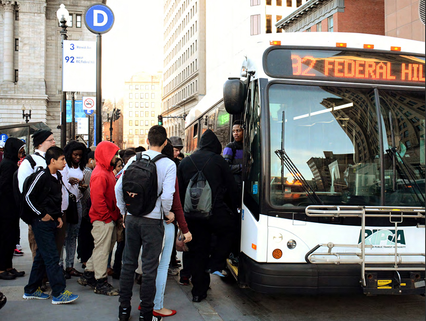 The Rhode Island Public Transit Authority's fleet of buses transports more than 16 million riders annually. (RIPTA)