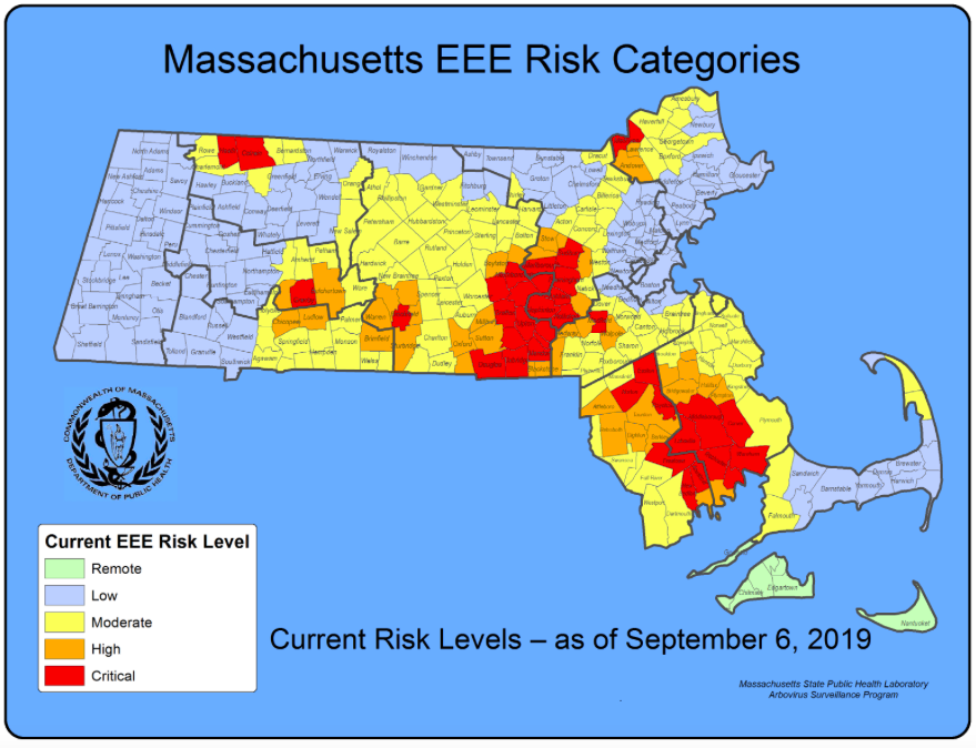 In Massachusetts, 36 communities are classified at critical risk, 42 at high risk, and 115 at moderate risk for the EEE virus. (Massachusetts Department of Environmental Protection)