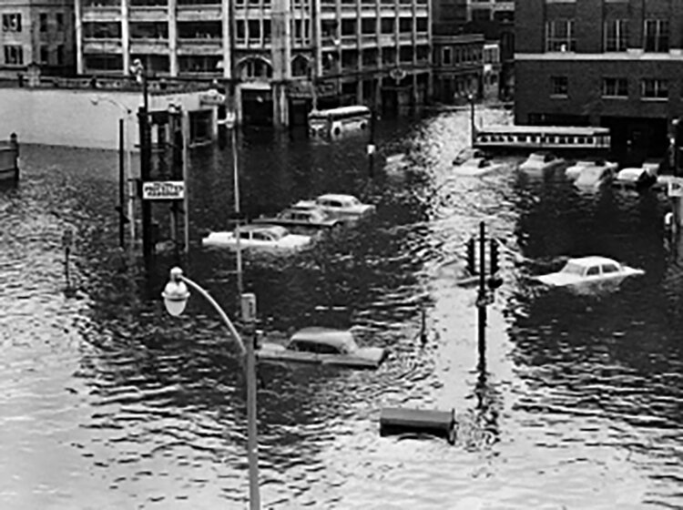 Hurricane Carol in 1954, as did the hurricane of 1938, left downtown Providence flooded. (Brown University)