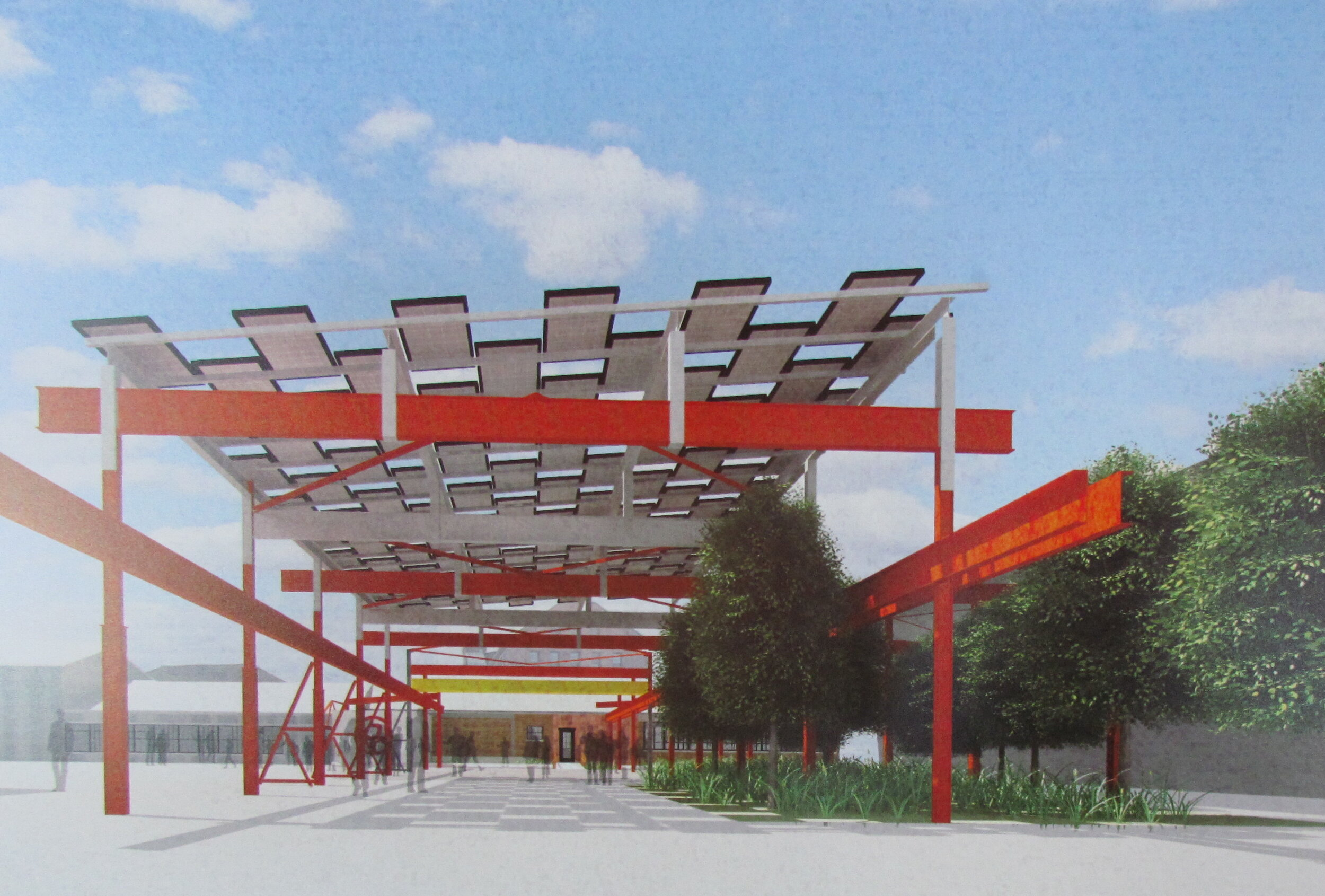 A rendering of the gantry solar canopy uses a gauze design the allows light to reach vegetation. (The Steel Yard, KITE Architects, and Newport Renewables)