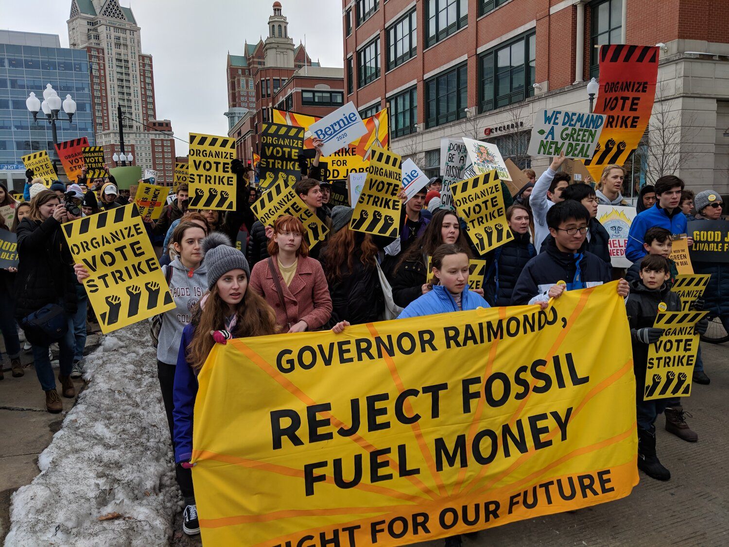 About 500 protesters joined the Dec. 6 Climate Strike in Providence. (Tim Faulkner/ecoRI News photos)