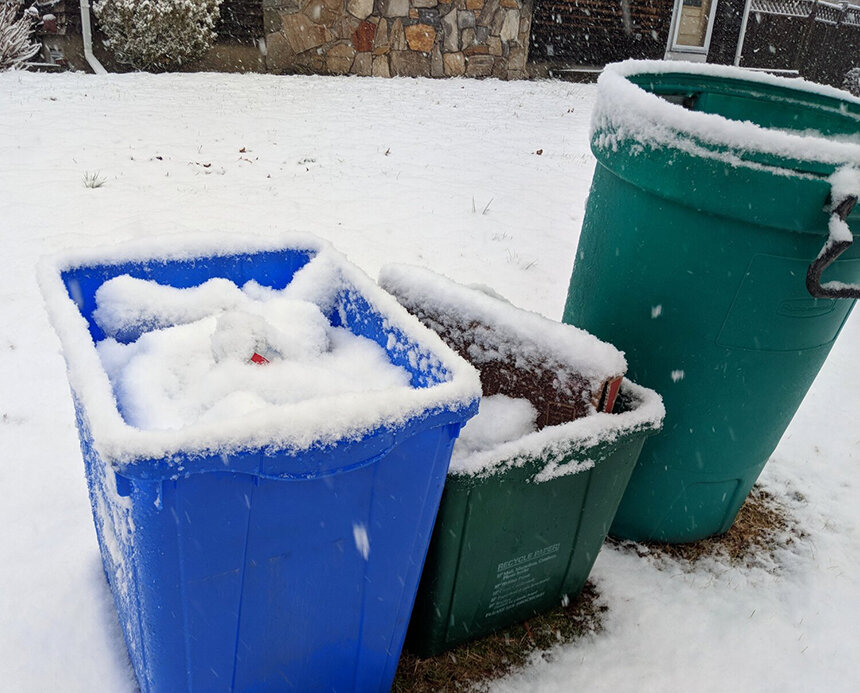 Despite good intentions, recycling contaminated by snow and rain may end up buried in the landfill. (Tim Faulkner/ecoRI News)
