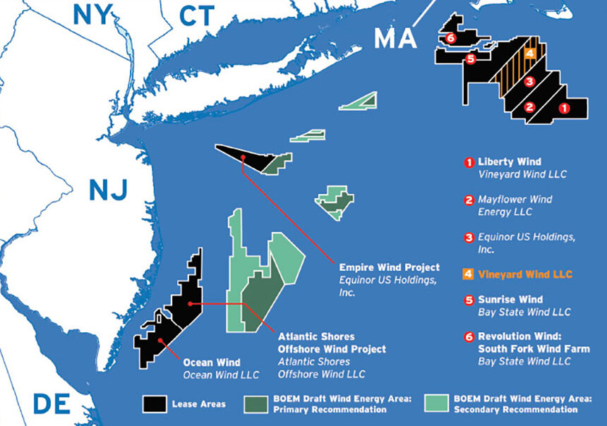 Six gigawatts of offshore wind energy have been proposed for the East Coast. (Engineering News-Record)