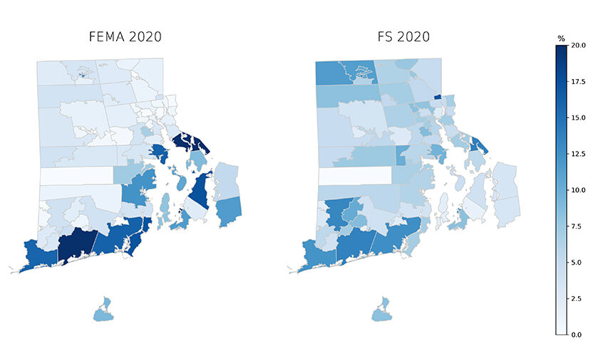 The First Street Foundation (FS) model shows an increase in flood risk across Rhode Island. Flooding risks are by zip code. (Roger Warburton/ecoRI News)