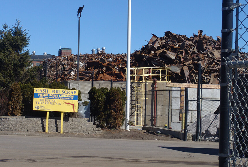 Sims Metal Management, a global metal-scrap processor, has two facilities in Rhode Island, one in Johnston and this one on Allens Avenue in Providence. (ecoRI News)