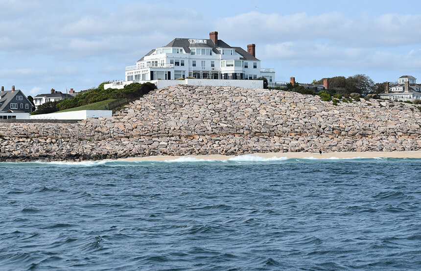 A revetment, a jigsaw of boulders, stands in front of Taylor Swift's Westerly mansion. (Frank Carini/ecoRI News)