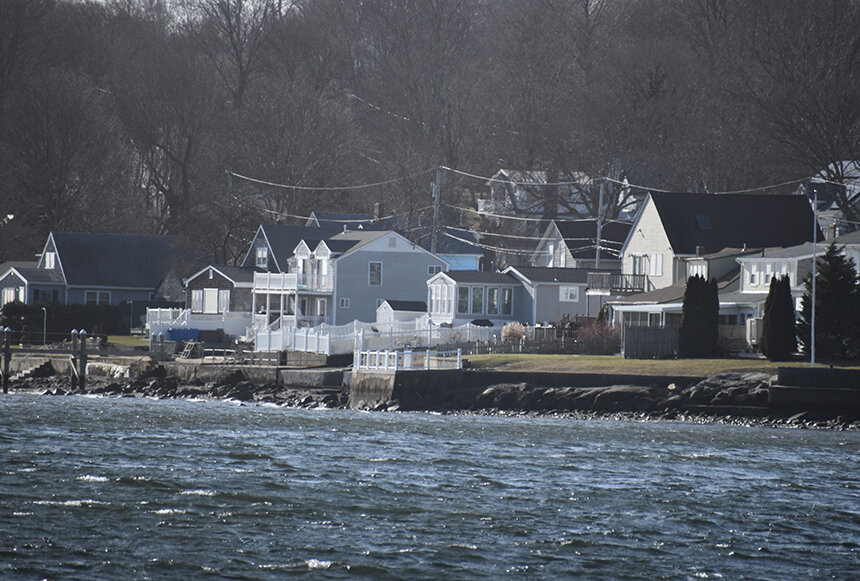 Hardened coastal structures, such as those used to fortify Island Park in Portsmouth, can only offer so much protection from Mother Nature's fury. (Frank Carini/ecoRI News)