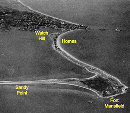 Before the hurricane of 1938 arrived, 39 homes lined Napatree Point's barrier beach and Sandy Point was connected to the peninsula. (Watch Hill Conservancy)