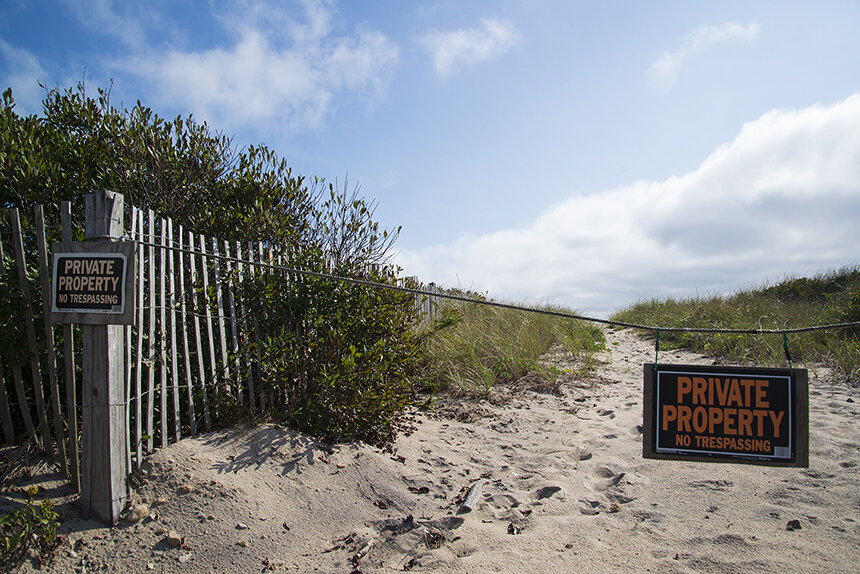 A bevy of signs up and down Charlestown Beach Road all say the same thing. (Joanna Detz/ecoRI News photos)