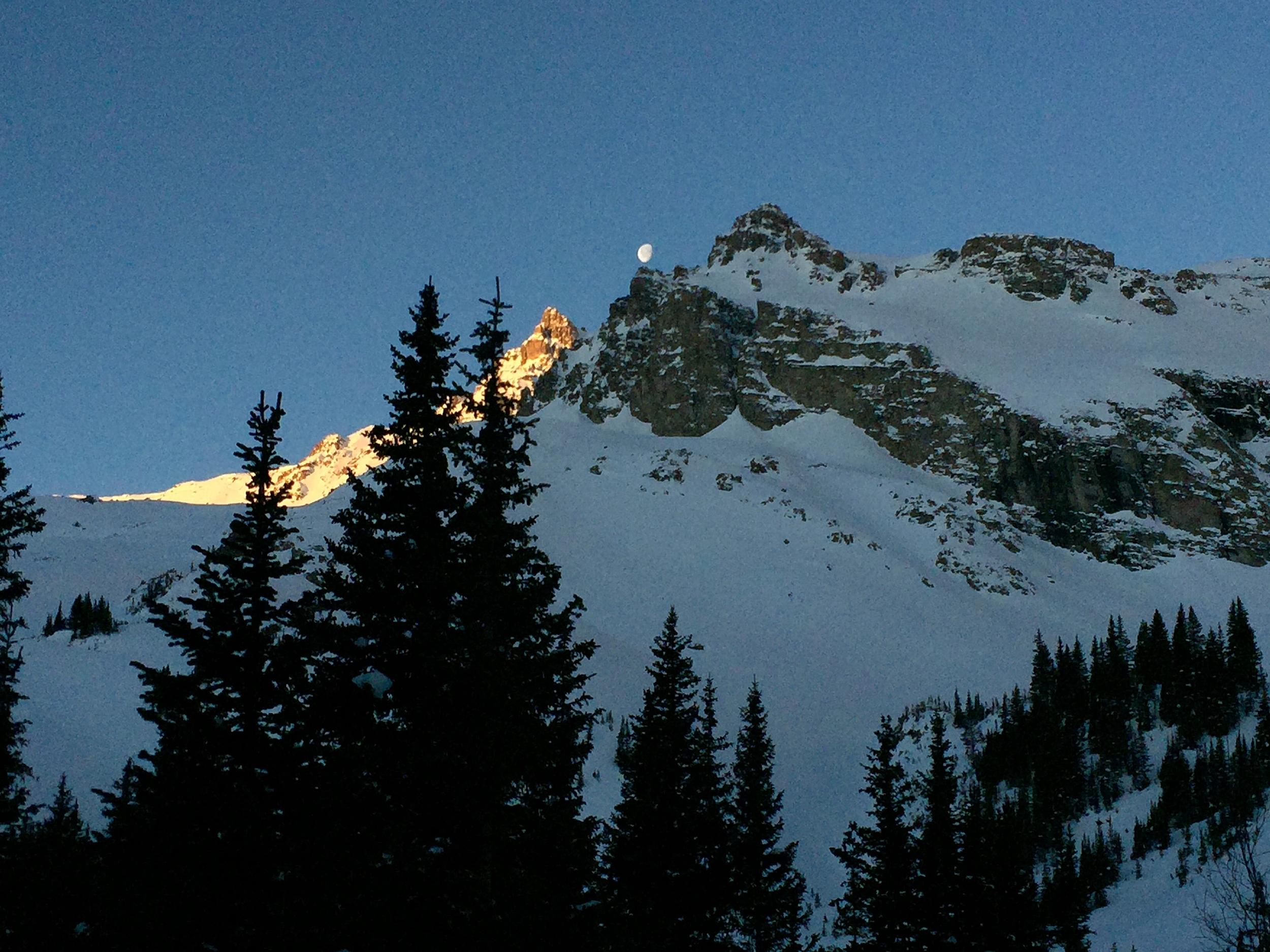 The Moon Sets Behind the Eastern Ridge of 14,278ft. Castle Peak