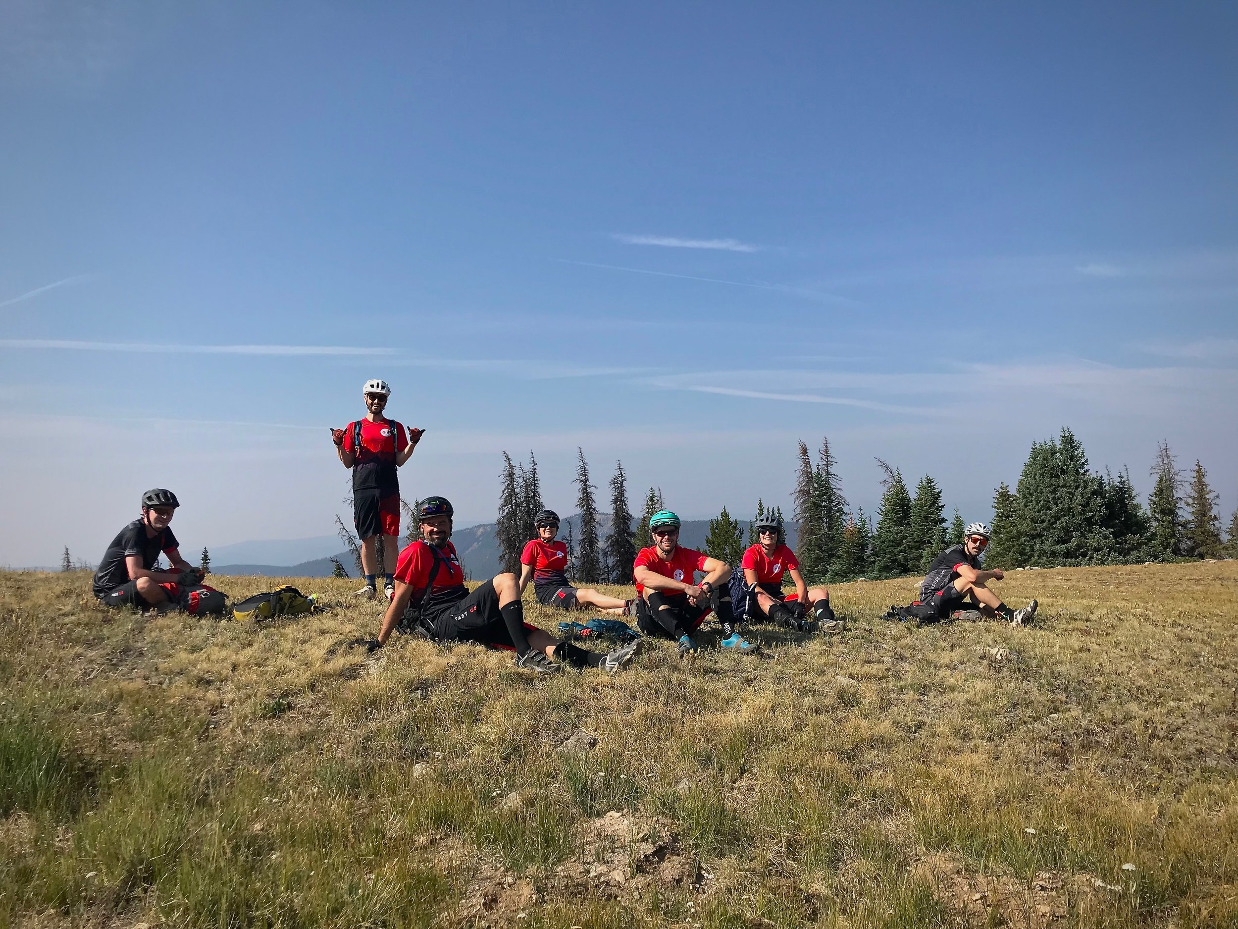 The team looking good in our matching kits and taking in the views on the Monarch Crest Trail.