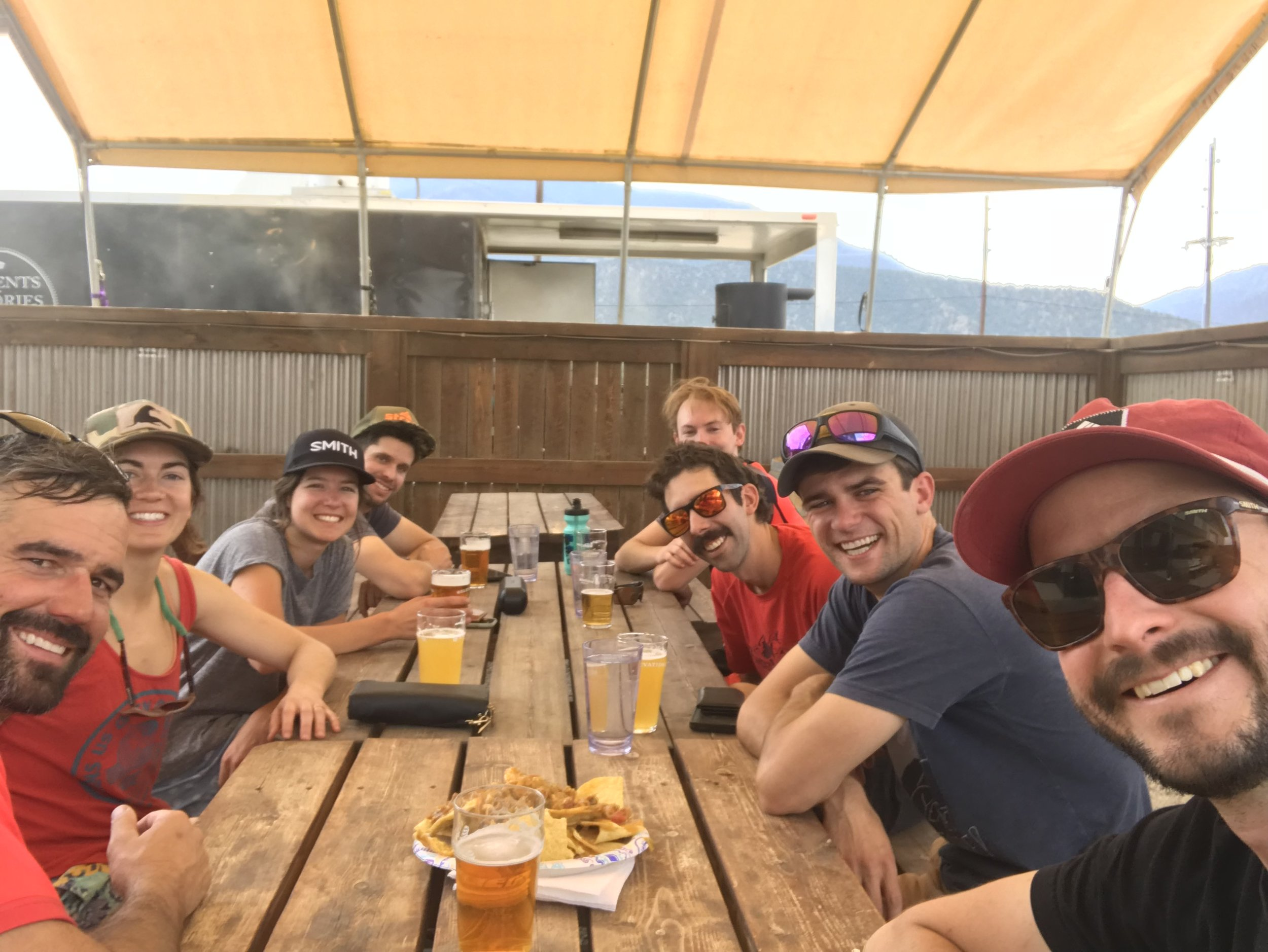 Celebration beers and nachos at the end of the ride!
