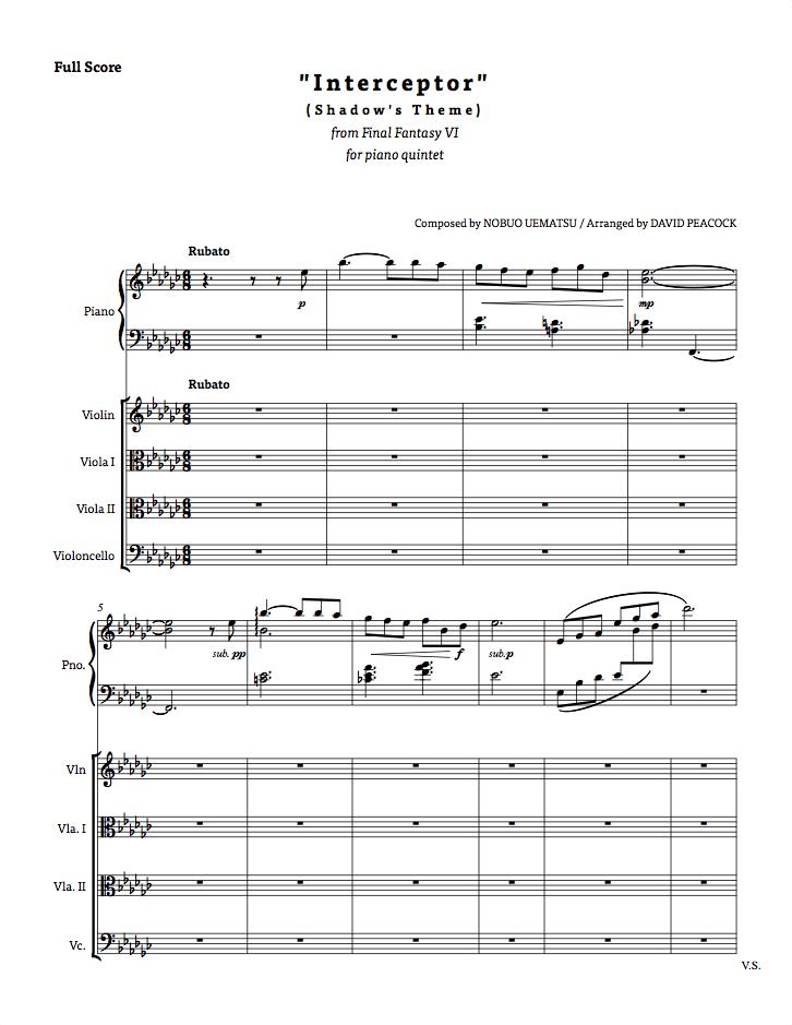 Interceptor (Shadow's Theme) for piano quintet