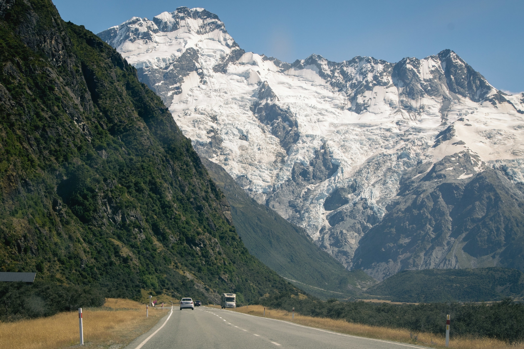 Entering Mount Cook National Park.