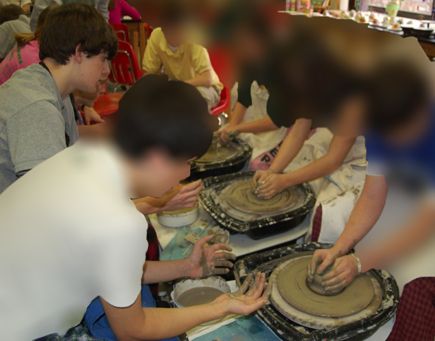 Colton focused student on left.