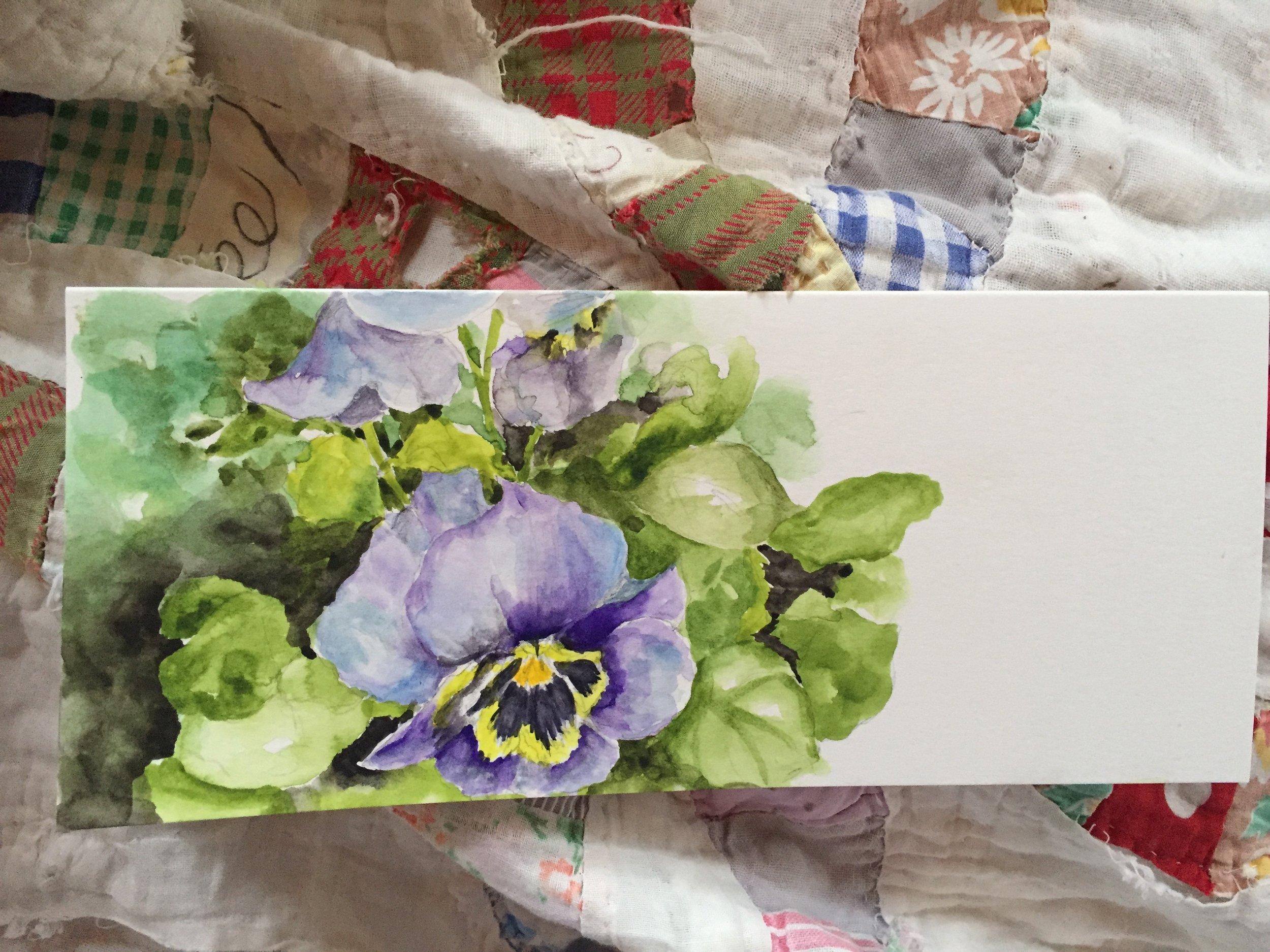 """Purple Pansies"" Watercolor by Melody Weintraub"